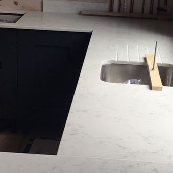 kitchen sink and work top